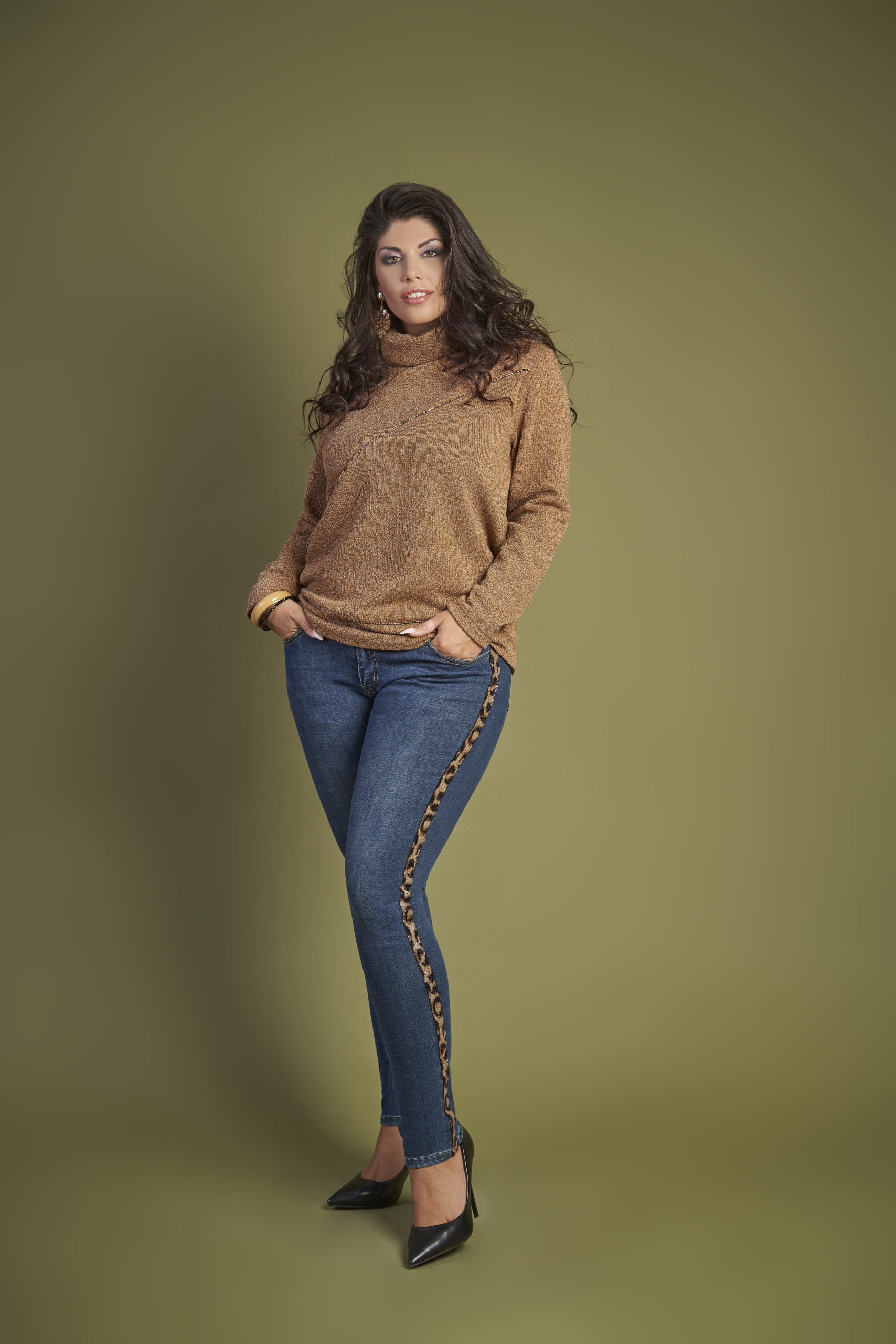 fantasie animalier jeans con dettaglio maculato